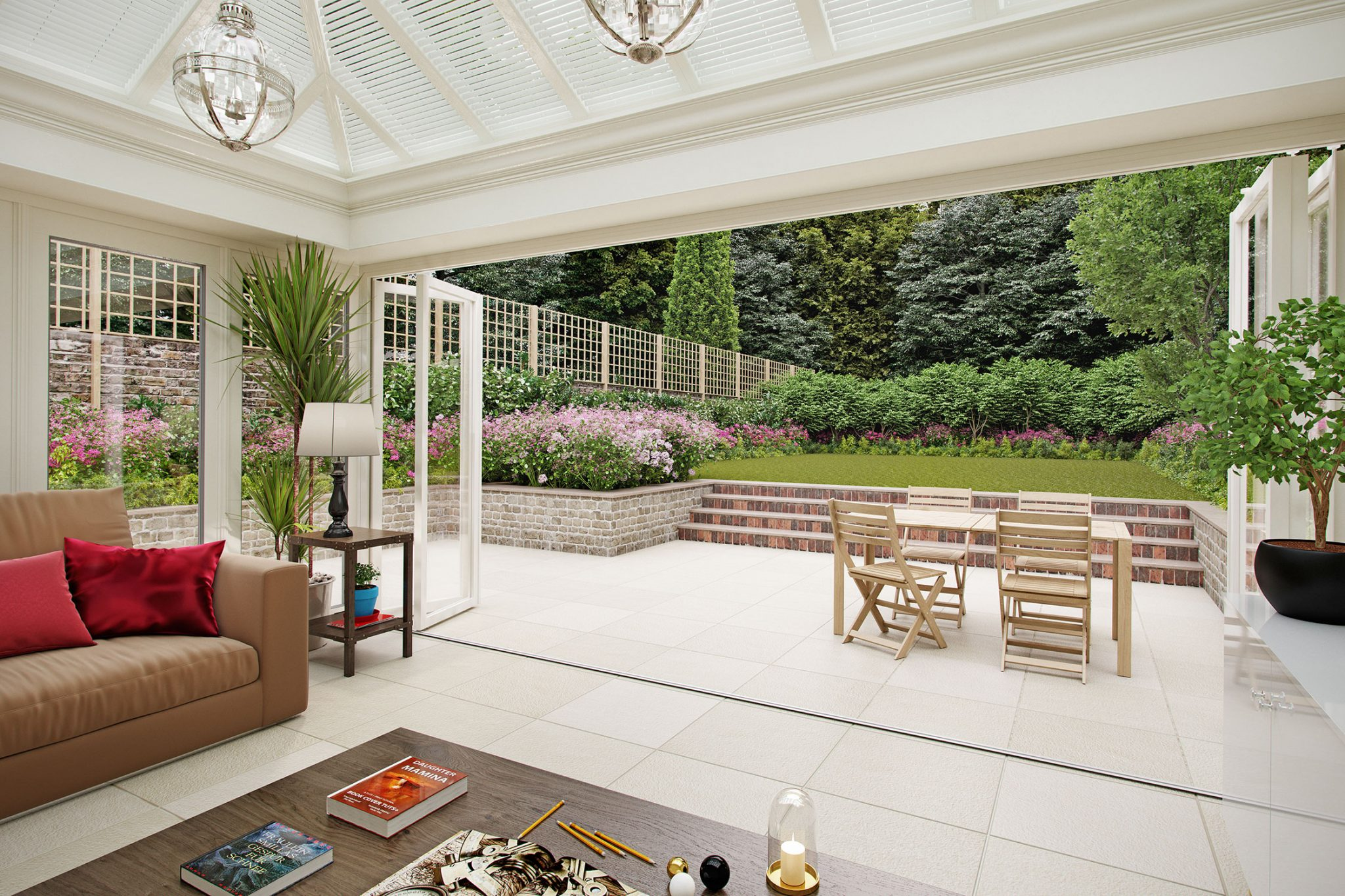 Indoor-outdoor living space using white Valverdi porcelain tiles.