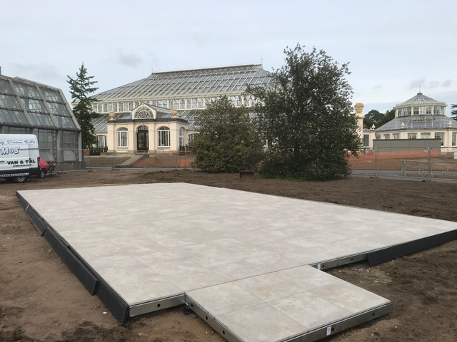Valverdi outdoor tiles being installed at Kew Gardens by Outer Sanctum.